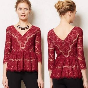 ANTHRO MAEVE Floral Lace Red Peplum Blouse Small